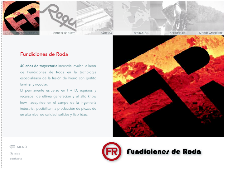 Web antigua de Fundiciones de Roda